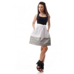 Дамска пола с висока талия в бяло с бордюр