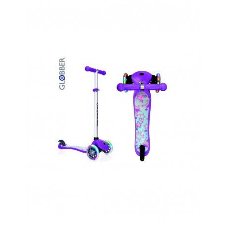 Тротинетка за деца със светещи гуми и регулируема височина - лилава