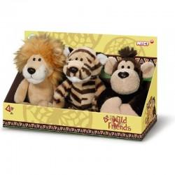 Комплект плюшени играчки Лъв,Тигър,Маймуна